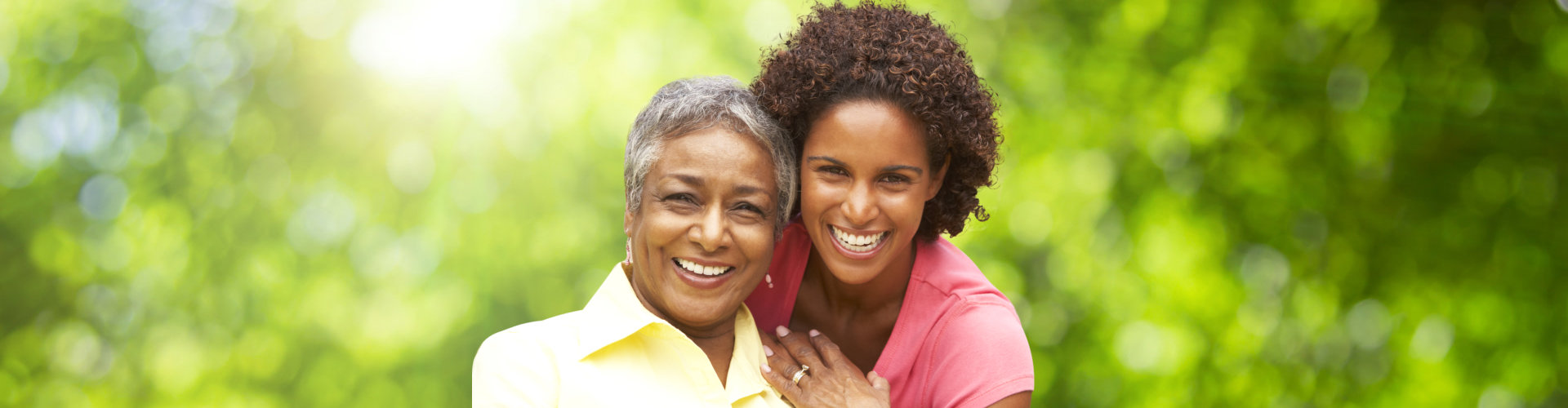 female caregiver with her client smiling